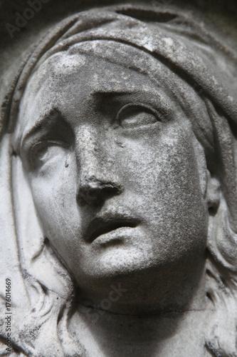 Vintage Sculpture Of Sad Woman Religion Faith Suffering