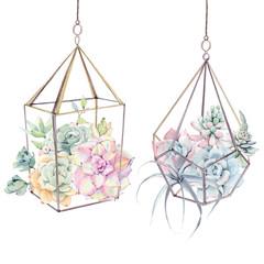 Panel Szklany Boho Watercolor vintage succulents bouquet