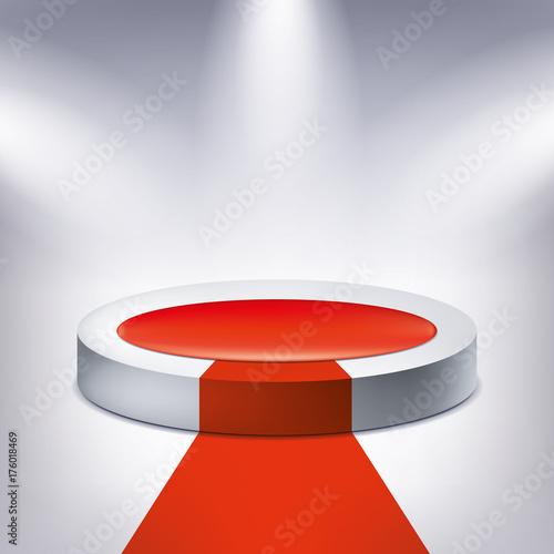 Plakat Podświetlane podium, czerwony dywan, nagroda postument, kształt geometrii, projekt wektor dla Ciebie projektu