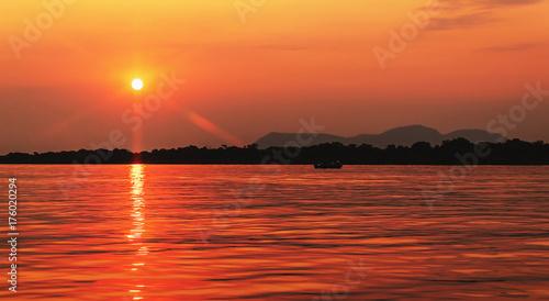 Fototapeta Amazing sunset at Paraguai river in Pantanal, Brazil