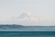 View Of Mount Rainier On A Sunny Summer Day From The Water