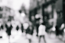 Abstract Background Of People Walk On The Street With B&W Color