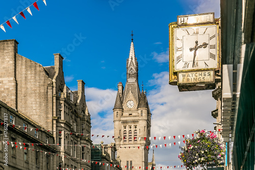 Canvas Print View of Granite city of Aberdeen in Scotland