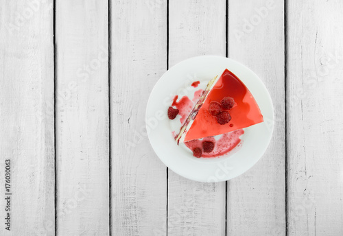 Slice of vanilla sponge cake with yogurt souffle and raspberry jelly Wallpaper Mural