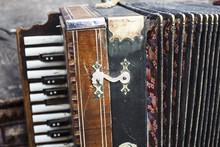 Vintage Harmonic. Retro Butto...