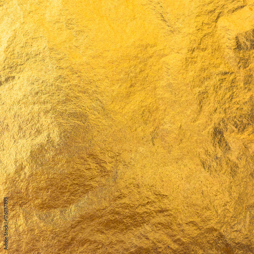 Gold foil leaf metallic wrapping paper shiny texture background for wall paper decoration element Wall mural