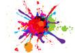 abstract splatter red orange green blue pink color background. illustration vector design