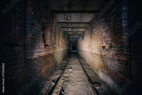 Canvastavla Dark scary corridor in abandoned industrial ruined brick factory, creepy interio
