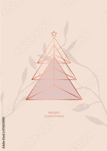 Rosegold Christmas Tree Vector Greeting Card Minimal Illustration Design With Metal Triangle Shapes Star