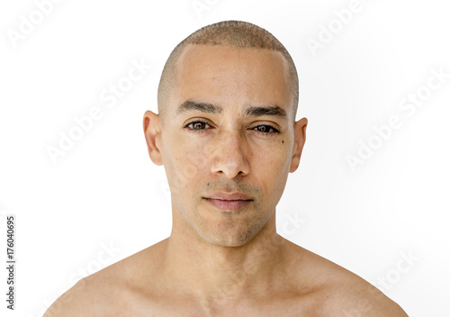 Tablou Canvas Skinhead man with topless studio shoot