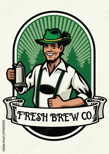 Obraz na płótnie bavarian man beer brewing badge