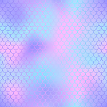 Pink And Violet Fish Skin With Scale Pattern. Mermaid Tail Vector Background.