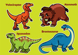 Fototapeta Dinusie - cartoon collection of dinosaurs