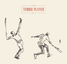 Tennis Players Drawn Vector Illustration, Sketch