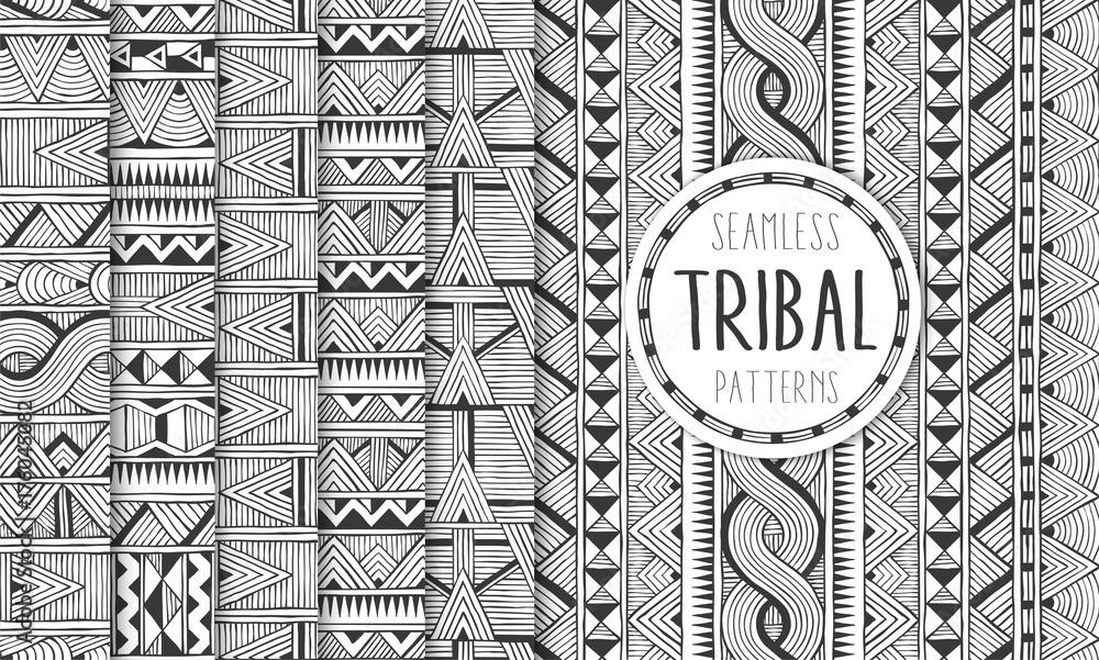 Fototapeta Set of six ethnic seamless patterns. Tribal geometric backgrounds. Modern abstract prints. EPS10 vector illustration.