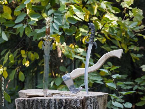 Deurstickers Vechtsport European and Asian ancient swords, sabers and daggers
