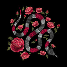 Snake And Red Roses. Tradition...