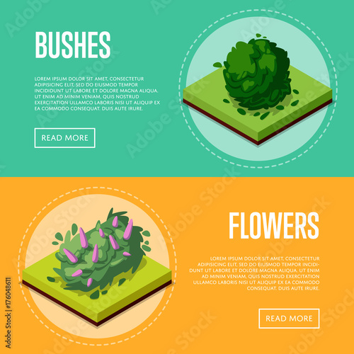 Fotografia, Obraz  Bushes and flowers for park design isometric posters