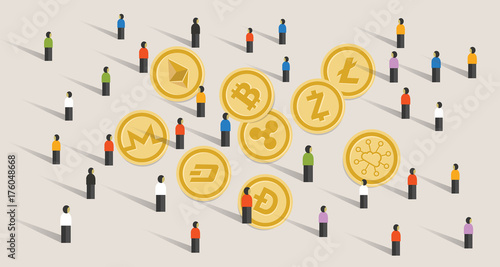 Crowd People Hype Together Crypto Currency Coin Set Bitcoin Digital Virtual Money Exchange Finance