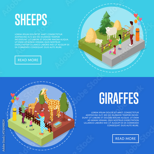 Obraz na plátne  Public zoo with wild animals and visitors isometric 3D posters set
