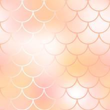 Mermaid Fish Scale Pattern Background. Gradient Mesh Vector Texture.