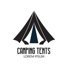 Camping Place Logo Or Label Template. Outline Tepee Icon. Hiking And Camping Tent Logotype.