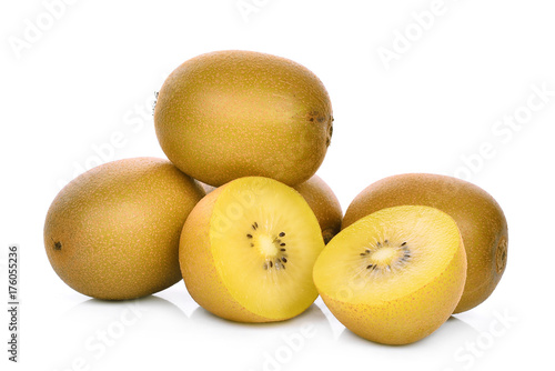 whole and half of yellow or gold kiwi fruit isolated on white background