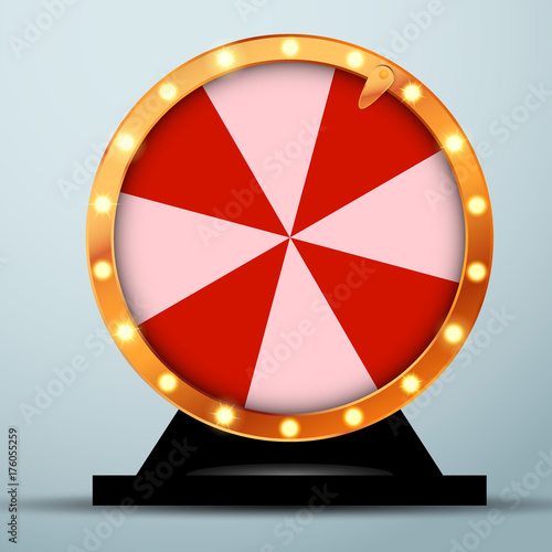 Lottery online casino fortune wheel in golden circle with red and white stripes Fototapeta