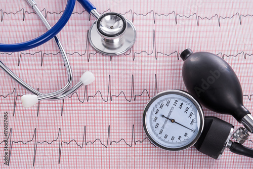 Sphygmomanometer with aneroid gauge and stethoscope with Electrocardiogram paper Wallpaper Mural