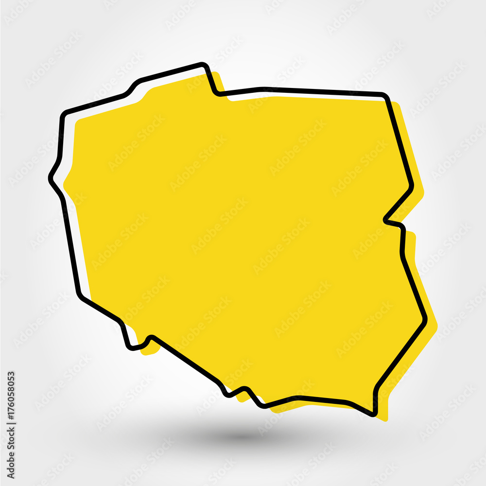 Fototapety, obrazy: yellow outline map of Poland