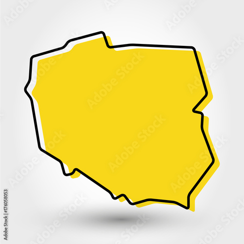 Fotografía yellow outline map of Poland