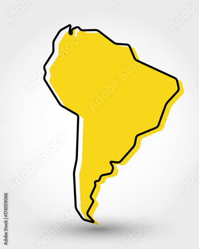 Fotomural  yellow outline map of South America