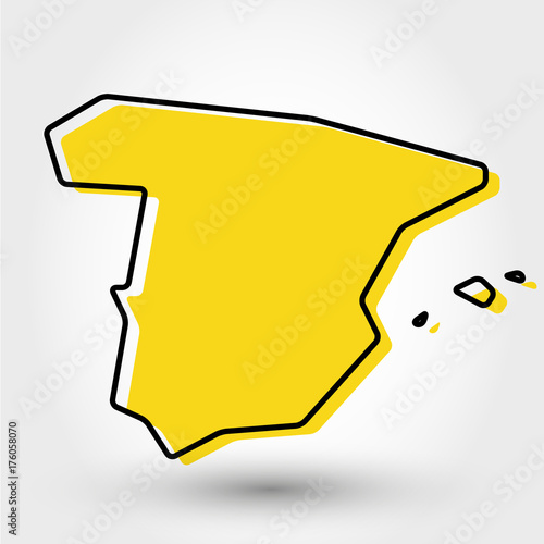 yellow outline map of Spain