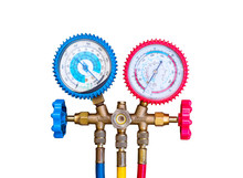 Air Conditioning Refrigerant, Pressure Gauges Set Isolate On White Background. R134a R12 R22 AC Refrigeration Charging A/C Manifold Dual Gauge Tester. Tools For Air Refill Kits. - Selective Focus.