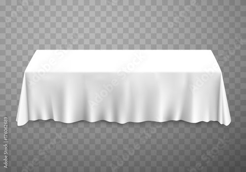 Fotografia Table with tablecloth white on a transparent background