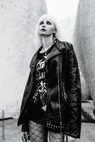 monochrome portrait of stylish blonde grunge young woman Canvas Print