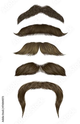 Photo set vector mustache different colors.
