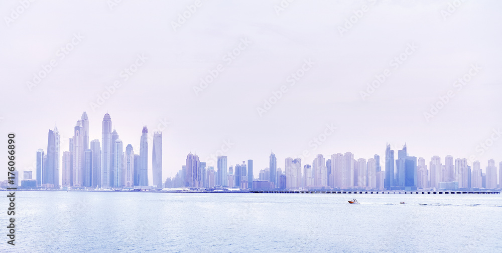 Photo & Art Print Dubai waterfront skyline, color toning applied ...