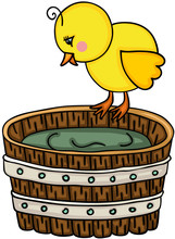 Little Chick With Wooden Tub