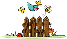 Wooden Fence With Bird And Bug...