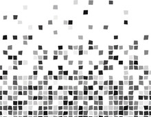 Black And White Abstract Seamless Mosaic With Squares. Vector Illustration