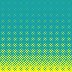 FototapetaGeometrical halftone ellipse pattern background - vector graphic from yellow diagonal elliptical dots on teal background