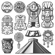 Vintage Monochrome Maya Elemen...