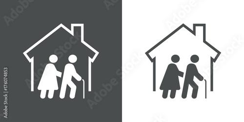 Foto  Icono plano residencia ancianos gris y blanco