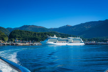 Large Cruise Ship Docked In Ketchikan Harbor, Alaska