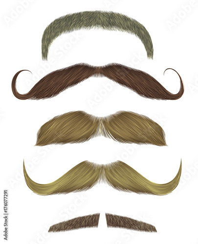 Fotografiet set vector mustache different colors.