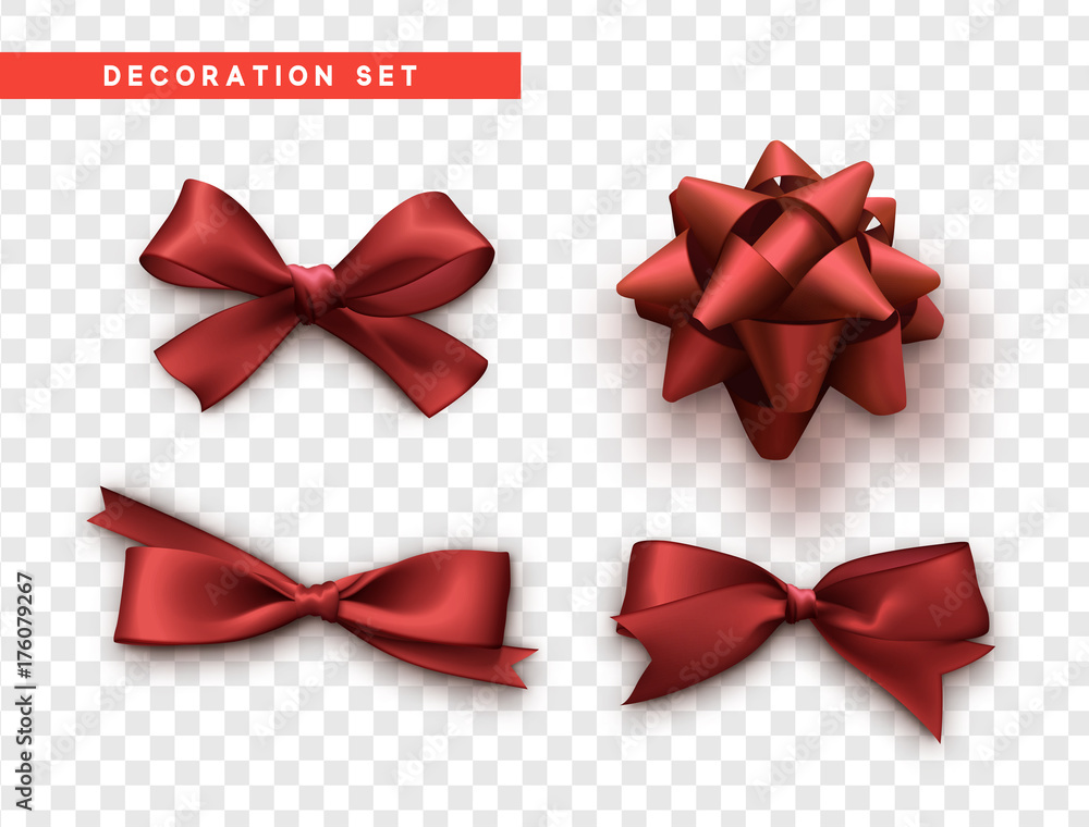 Fototapeta Bows red realistic design. Isolated gift bows with ribbons.