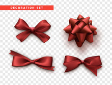 Bows Red Realistic Design. Iso...