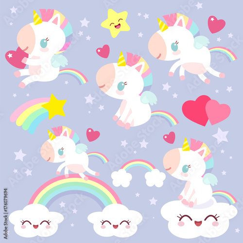 Photo  Set of magical unicorns. Children's character. Fabulous pony.