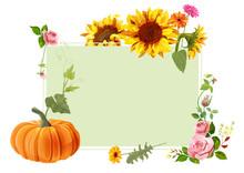 Autumn Vintage Frame: Red Rose...